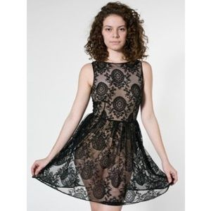 NWT American Apparel Black China Lace Dress